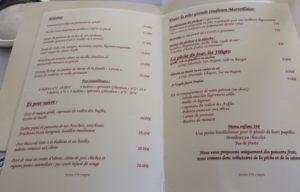 Chez fonfon menu