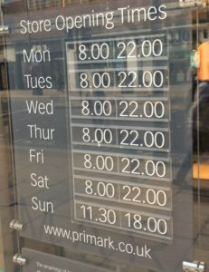 Primark Opening time