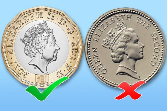 Old and new 1 pound coin