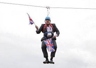 London Boris Johnson got stuck on a zip-line